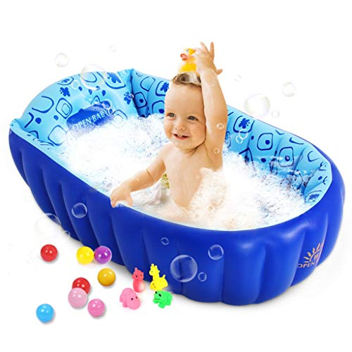 Inflatable Tube Portable Pliable Baignoire de Bain en Plastique Bleu pour Enfants Enfants Piscine de Nage Pliable Piscine Aérateur avec Pompe à Pied avec Boules Océan Multicolore