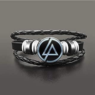 SWEETDAY Hip Hop Rock Linkin Park Leather Bracelet Glass Dome Cabochon Snap Buttons Bracelets Wristband Punk Men Women Jewelry