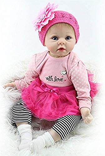 ZXYMUU 22' Reborn Baby Doll Girl Realistic Silicone Vinyl Body Handmade Big Eyes Real Life Rose Red Pink Cute Doll Gift Set for Ages 3+
