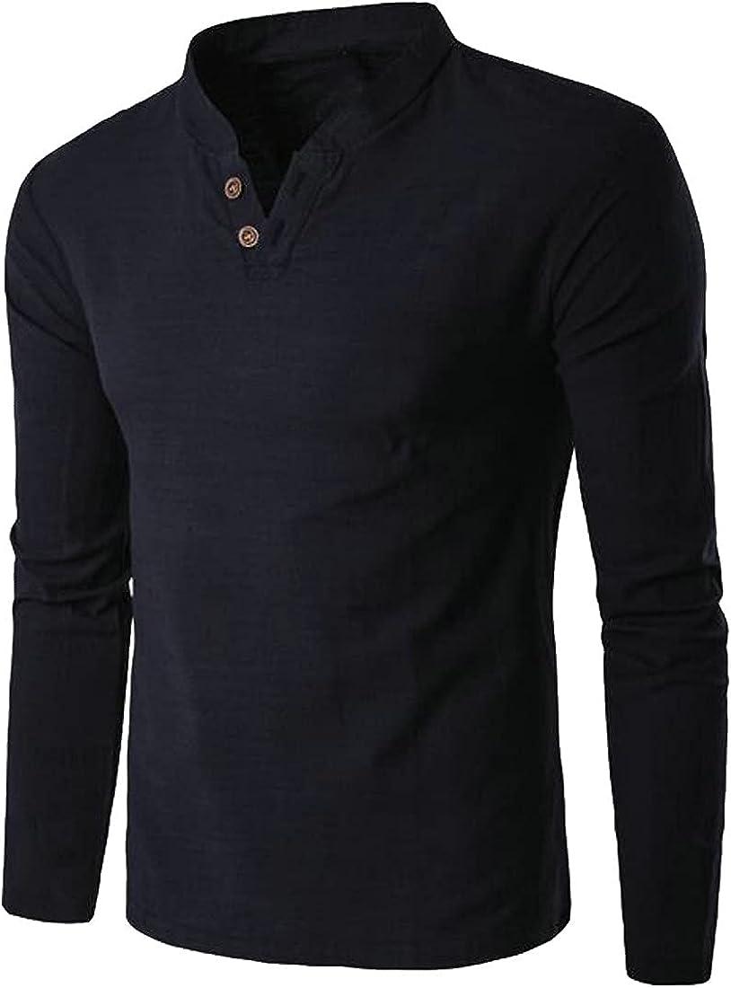 Loyomobak Linen Shirts for Men Long Sleeve Henley Shirt Mens T Shirts Casual V Neck Beach Yoga Tops