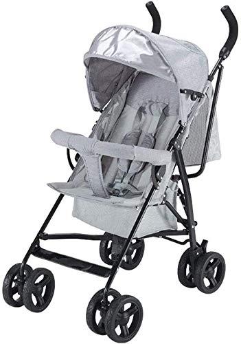 LOXZJYG Cochecito de aleación de Aluminio Carruaje Ligero del bebé Plegable del bebé del Paraguas del bebé, tragaluz Perspectiva, Cinturón de Seguridad de Cinco Puntos (Color : Gris)