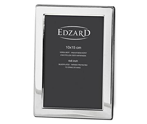 EDZARD Fotorahmen Salerno für Foto 10 x 15 cm, edel versilbert, anlaufgeschützt, mit 2 Aufhängern