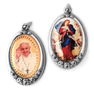 Mary Undoer of Knots Maria Desatanudos/Pope Francis Silver Plated Full Color Medal Blessed by Pope Francis