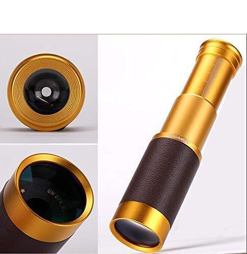 ZHCJH Lente para teléfono móvil con telescopio HD Externo Universal 20X con Amplificador de trípode;Clip, Oro Rosa, Oro