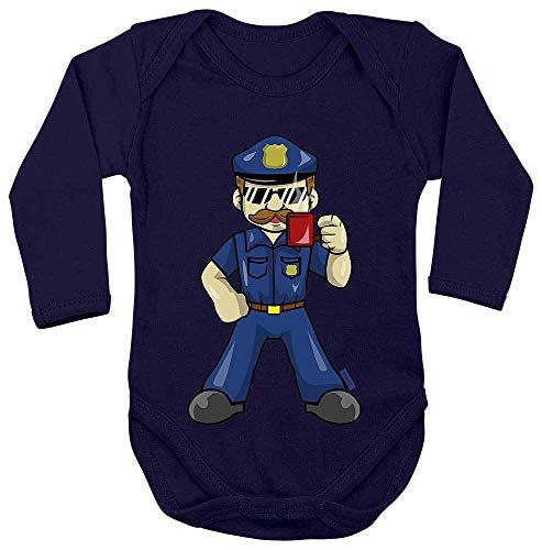 Hariz Baby Body manga larga Policía Cool taza Policía Witizg Plus tarjetas de regalo azul Azul Oscuro Talla:86-92