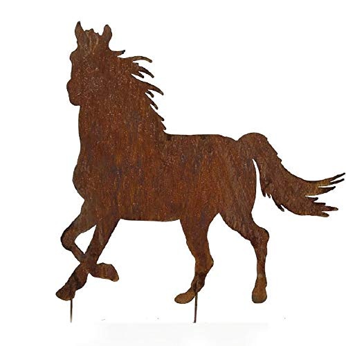 EQT-TEC Premium Gartendekoration Edelrost Pferd 60 cm Rostfigur Garten Roststecker Rostoptik Tier Dekoration