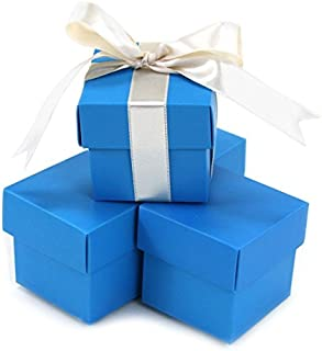 Koyal Wholesale 2-Piece Square Favor Boxes, Turquoise, 10-Pack
