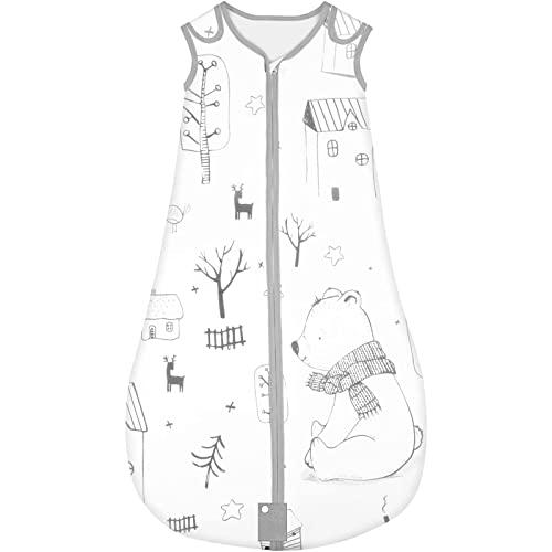 Yoofoss Saco de dormir para bebés Niños de 18-36 Meses años de 70 a 90 cm y 4 Estaciones 100% al algodón orgánico Unisex (L, Bosque)