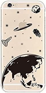 iPhone 8 / 7 Compatible , Colorful Rubber Flexible Silicone Case Bumper Clear Cover Case - Galaxy Universe Earth Planet Spaceman Astronaut
