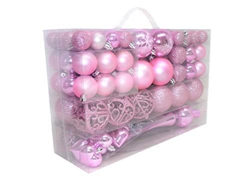 Geschenkestadl - Palline di Natale a forma di cuore con fiocco di neve, 101 pezzi, con 100 ganci in metallo, Colore: rosa., Diametro: 3/6/4 cm