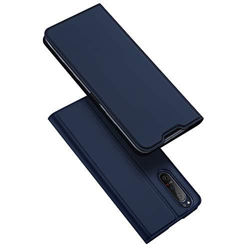 DUX DUCIS Hülle für Sony Xperia 5 II, Leder Klappbar Handyhülle Schutzhülle Tasche Hülle mit [Kartenfach] [Standfunktion] [Magnetisch] für Sony Xperia 5 II (Blau)