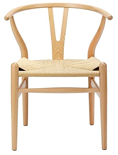 Vetrostyle Sessel Stuhl CH24 Y-Chair Wishbone Hans Wegner Designer schwarz/Natur (Weiss-Weiss)