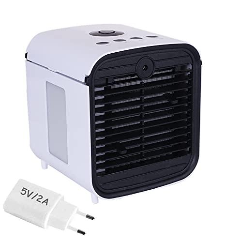 Climatizador Evaporativo Aire Acondicionado Portátil Enfriador Mini con 3 Velocidades y LED Luz de la Noche Apto para oficinas y dormitorios.