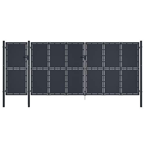 vidaXL Puerta de Jardín Panel Cancel Valla Verja Patio Entrada Exterior Cerca Cerradura Robusta Estable Duradera Metal Gris Antracita 5x2,25 m