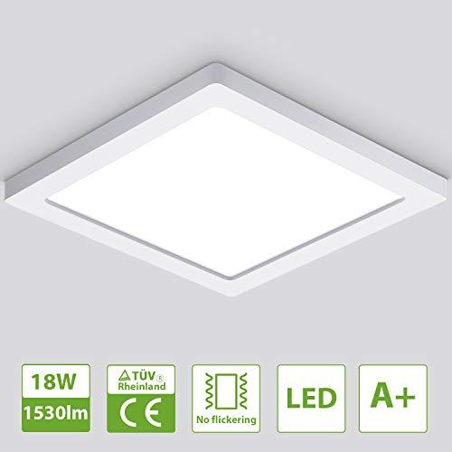 Oeegoo LED Deckenleuchte 13mm, 18W Flimmerfreie Deckenlampe 1530lm (100W Glühlampe Ersatz), Led Flurlampe, Einbauleuchte, Wohnzimmerlampe Neutralweiß 4000K
