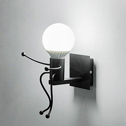 Iro forgé moderne créative Peinture Salon Chambre à coucher mur de chevet Lampe lumière, Art Villain Couloirs Chambre Enfants Wall Lamp,Tête simple Black,5 Watts ampoule LED lumière blanche