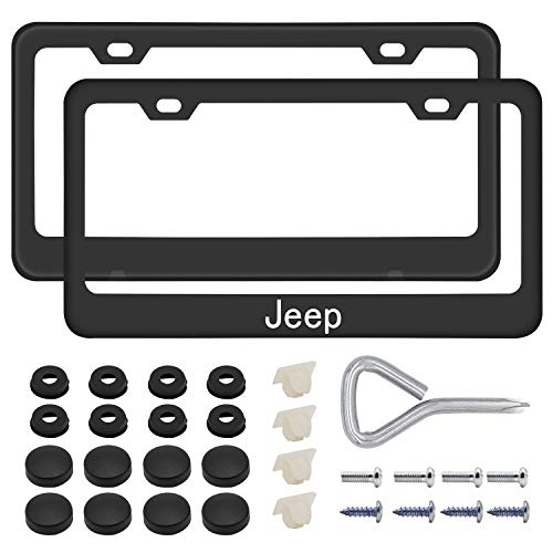 2PCS Car License Plate Frames for JEE-p, Luxury Matte Black Aluminum Alloy License Plate Frame Covers with Screws Caps Set for JEE-p