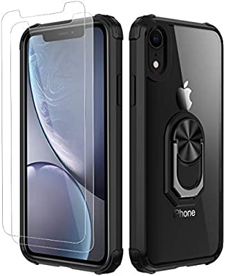 iPhone XR Case,[ Military Grade ] with [ Glass Screen Protector] 15ft. Drop Tested Protective Case | Kickstand | Compatible with Apple iPhone XR Case -Black