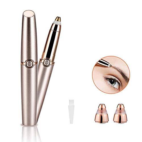 Depilador de Cejas, Slopehill Eyebrow Trimmer Shaver Multifunción Regulador de Barba Eléctrico Portátil Depiladora con Lápiz Labial en Forma de Cabeza Chapada en 18K para Mujer (sin batería) (Oro)