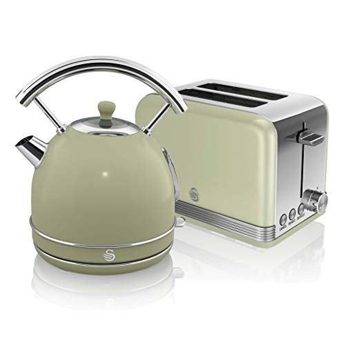 Swan, Retro Kitchen Kettle and Toaster Set, 1.8L Dome Kettle, 2 Slice Toaster, (Green)