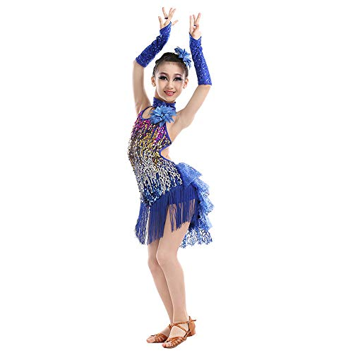 Yudesun Tanzsport Bekleidung Kleider Mädchen - Kinder Franse Pailletten Kleider Latein Tanz Kostüm Turnierkleid Röcke Salsa Tango Samba Rumba Ballroom Cha Cha Blau 120cm
