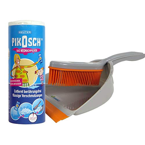 Ecosharkz Kotz Pulver Set - Absorber-Granulat und Spezial-Kehrset zur ekelfreien Beseitigung für Erbrochenes, Urin, Kot, Blut und Wasser