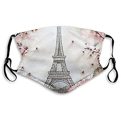 HOTBABYS Eiffel Tower Reusable Activated Carbon Filter Face Covering with Replaceable Filter for Men Women Small