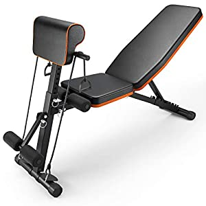 PERLECARE Adjustable Weight Bench for Full Body Workout - All-in-One Durable Exercise Bench Holds up to 772 lbs, Foldable Flat/Incline/Decline Workout Bench with Two Exercise Bands for Home Gym