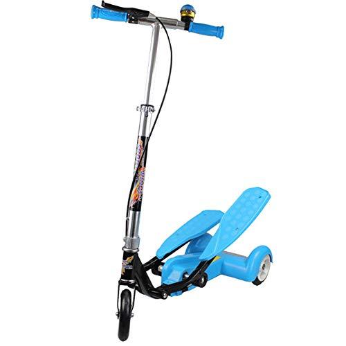 Thole Patinete Plegable NiñO Tipo Scooter Rana De Doble Paso Scooter con Manillar Ajustable Freno Apto para NiñOs De 3-17 AñOs,Blue