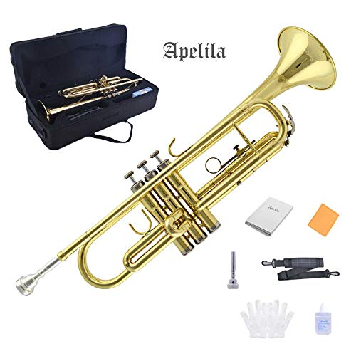 Apelila Gold Trumpet Brass Standard Bb Trumpet-Student Beginner with Hard Case,Gloves,Mouthpiece,Soft Cleaning Cloth,Strap,and Valve Oil