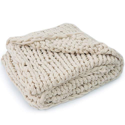 Cheer Collection Chunky Cable Knit Throw Blanket | Ultra Plush and Soft 100% Acrylic Accent Throw - 50 x 60 inches, Taupe