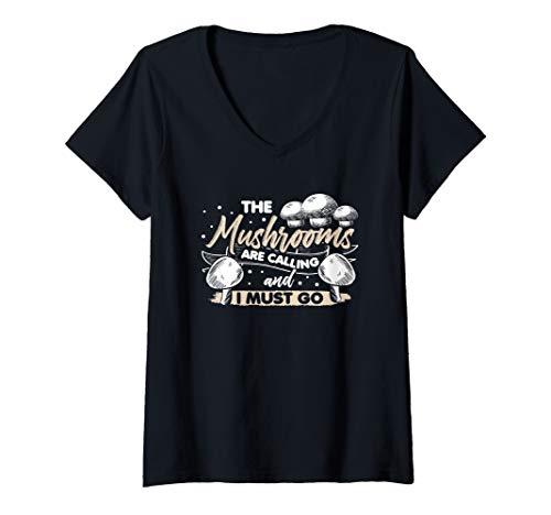 Damen Pilzsammler Pilze Sammeln Glückspilz Fliegenpilz Geschenk T-Shirt mit V-Ausschnitt