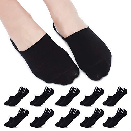YOUCHAN Sneaker Socken Damen 39-42 10 Paar Füßlinge Herren 43-46 35-38 47-50 Unsichtbare Rutschfestes Baumwolle Atmungsaktiv-Schwarz,35-38