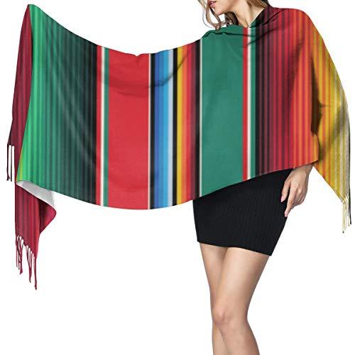 スカーフショール メキシカンラグセラーペストライプジアーツ スカーフショールスーパーソフトタッセル付きクラシックファッションウォームラージラップショール冬ストール女性用