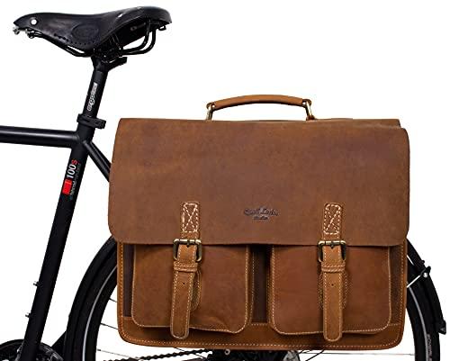 Gusti Gepäckträgertasche Leder - Marco P. Satteltasche Aktentasche Fahrradtasche Lehrertasche Bürotasche Arbeitstasche Ledertasche Braun kompatibel mit Klickfix