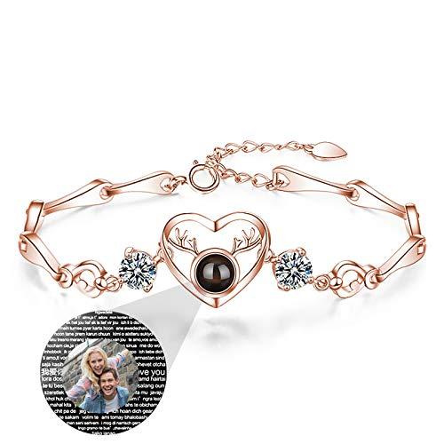 Personalisiertes Armband Projektion Armband Personalisierte Foto Armband Herz Armband Frau 100 Sprachen Weihnachten Geburtstagsgeschenk für Frau(Roségold Vollfarbe 15,5+3,5 cm/6,1+1,38 Zoll)