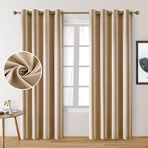HOMEIDEAS 2 Panels Beige Faux Silk Curtains Champagne Gold Blackout Curtains for Bedroom 52 X 96 Inch Room Darkening Satin Drapes/Curtains, Thermal Insulated Blackout Window Curtains for Living Room