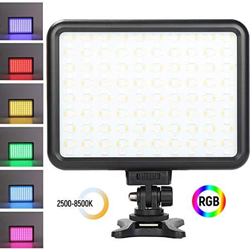 fotowelt 0-360 Luci video a LED RGB CRI 95+, 2500K-8500K Luce video videocamera TLCI 97+, HSI 1-1530 Supporto 10 modalità scena per YouTube, videocamera, illuminazione fotografica con batteria