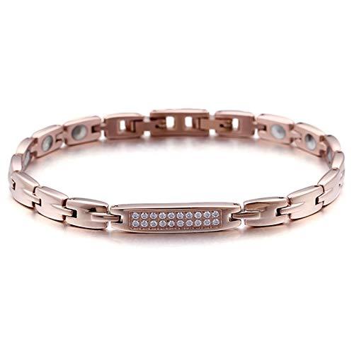 Beydodo Edelstahl Armband für Männer mit Magnet Steine Zirkonia Rosegold Charm Armbänder Herren Freundschaftsarmband 21.5CM