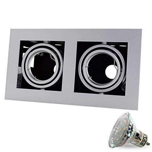 1er SET Q-42 Kardanisch 230V LED inkl. LED 4W Warmweiß inkl. GU10 Fassung (15cm Anschlusskabel) SMD Decken Einbaustrahler Einbauspots Deckenspots [quadratisch, schwenkbar]