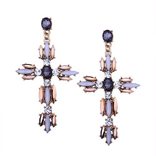 Joocyee Boho Crystal Cross Baroque Bohemian Large Orecchini pendenti lunghi per Donne Ragazze, orecchini brillanti esagerati a Forma di Croce Champagne, Champagne