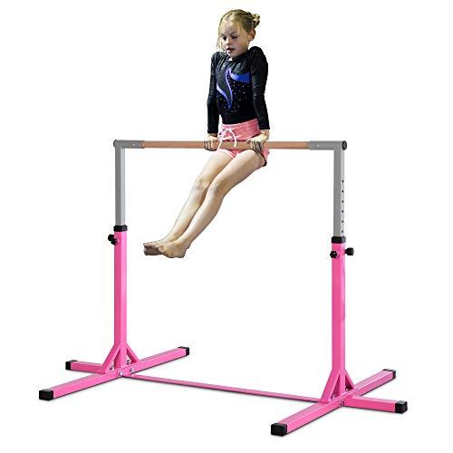 HOMCOM Barre Fixe de Gymnastique Enfant - Barre de Gymnastique Hauteur réglable 13 Niveaux 92 à...