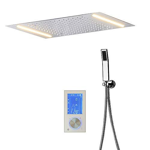 HNBMC SUS304 - Sistema de Ducha termostático con 2 Luces LED y Panel táctil