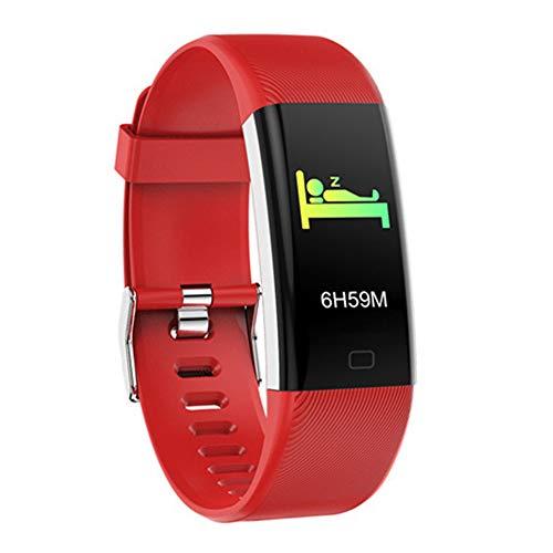 DSAK Pulsera inteligente impermeable multideporte Natación Correr reloj rastreador de actividad compatible con el ritmo cardíaco oxígeno en sangre monitoreo del sueño (rojo)