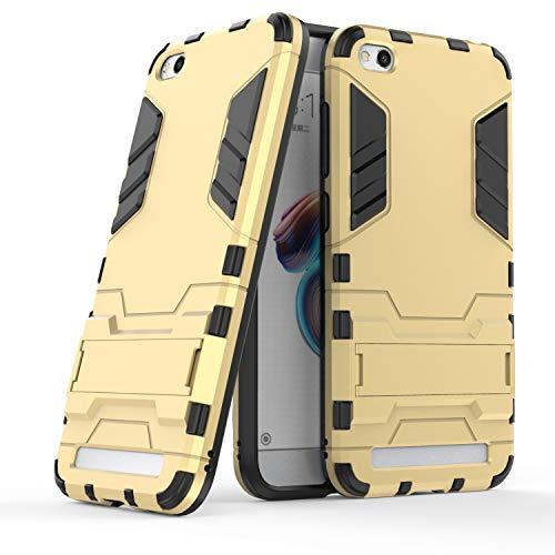 COOVY® Funda para Xiaomi Redmi 5A de plástico y Silicona TPU, extrafuerte, con protección contra Golpes, Funda con función Atril | Color Oro