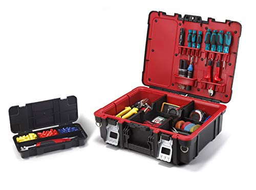 Keter Resin Technician Portable Tool Box Organizer with Cushioned Dividers for Small Parts and Hardware Storage, Black/Red