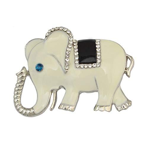 Broche Pines para Mujeres, Elegante Elefante Animal Aleación Bufanda Camisa Broche Broche Rhinestone Joyería - Blanco
