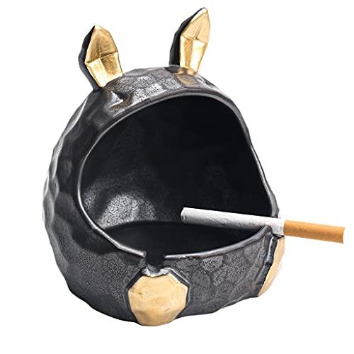 Ceniceros De Coche Cenicero para Cigarros Artesanía Cenicero En Forma De Conejo Cenicero De Cerámica para Decoración De Bar Cenicero De Estudio Grande (Color : Black, Size : 12 * 12 * 13cm)