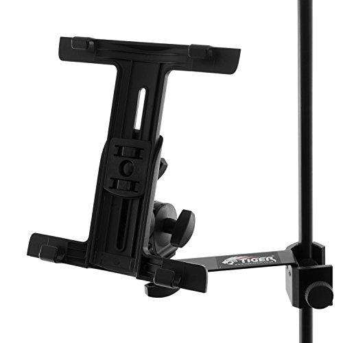 Tiger - Soporte de iPad para micrófono y música con abrazadera ajustable.