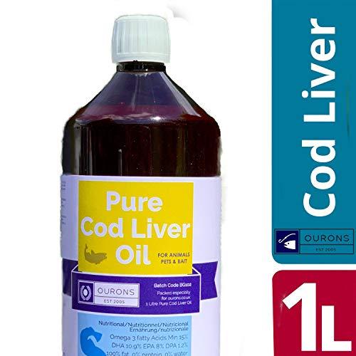 OURONS 1 Litre Pur Huile de Foie de morue Liquide 100% Pur complément nutritionnel d'animaux